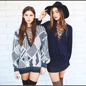 LF chunky lace up sweater